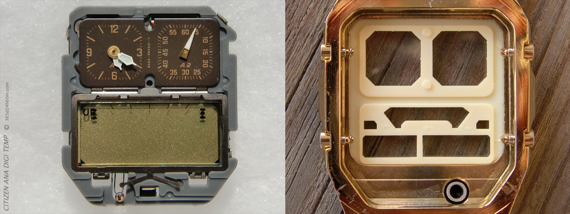 "Click to enlarge...Mechanism of a watch with a visible sensor and the watch casing with a visible place on the sensor. You can also see the ""aluminum cover"" placed on the casing using a rubber gasket !"